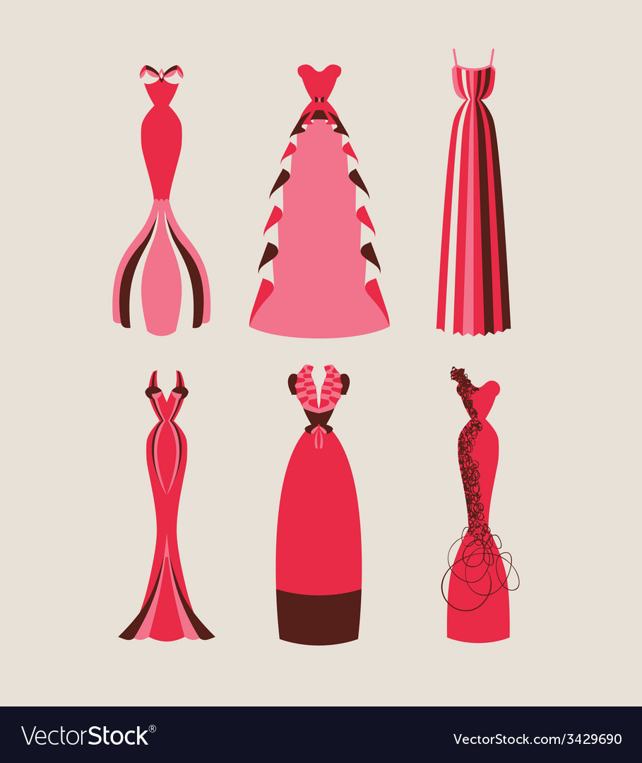 Retro and modern woman evening dresses vector | Price: 1 Credit (USD $1)