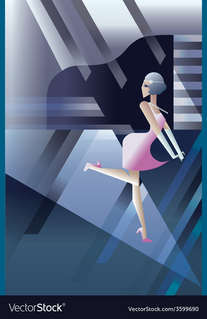Roaring 20s dancing flappers night club party vector | Price: 1 Credit (USD $1)