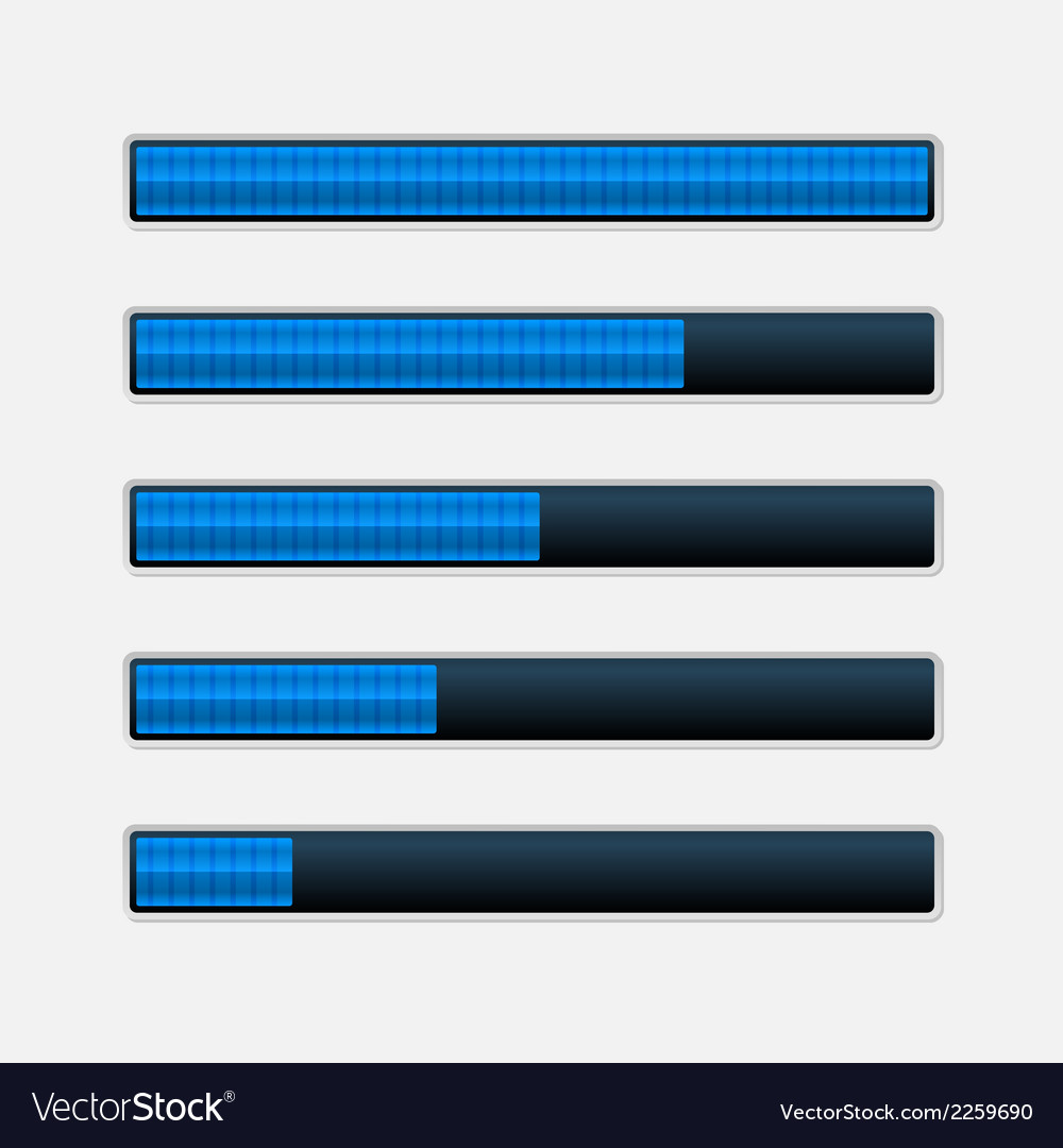 Set of blue progress bars loading bars vector | Price: 1 Credit (USD $1)