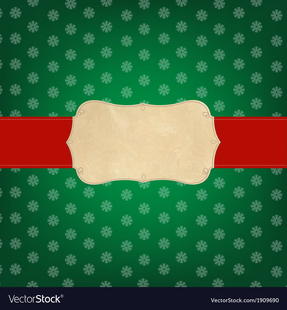 Vintage green merry christmas label vector | Price: 1 Credit (USD $1)