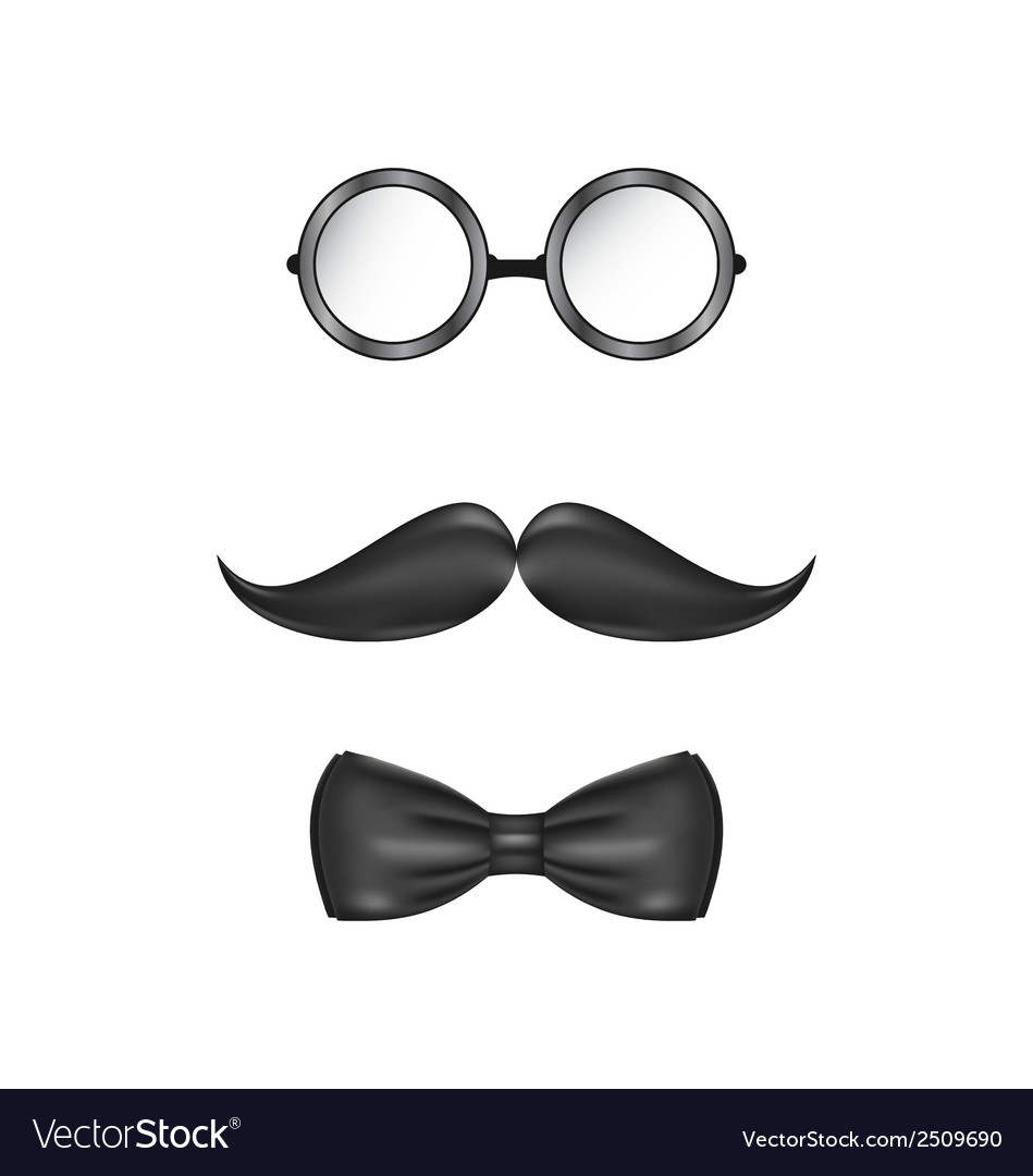 Vintage symbolic of a man face glasses mustache vector | Price: 1 Credit (USD $1)
