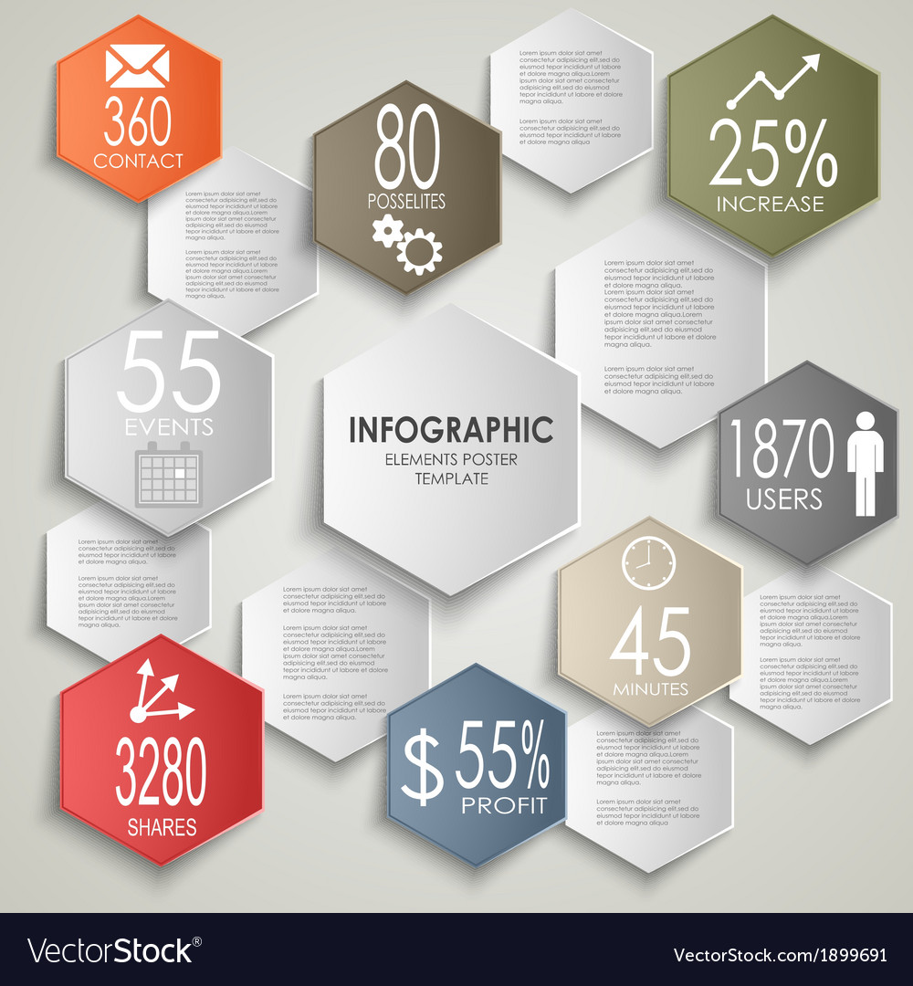 Abstract colorful hexagon info graphic poster vector | Price: 1 Credit (USD $1)