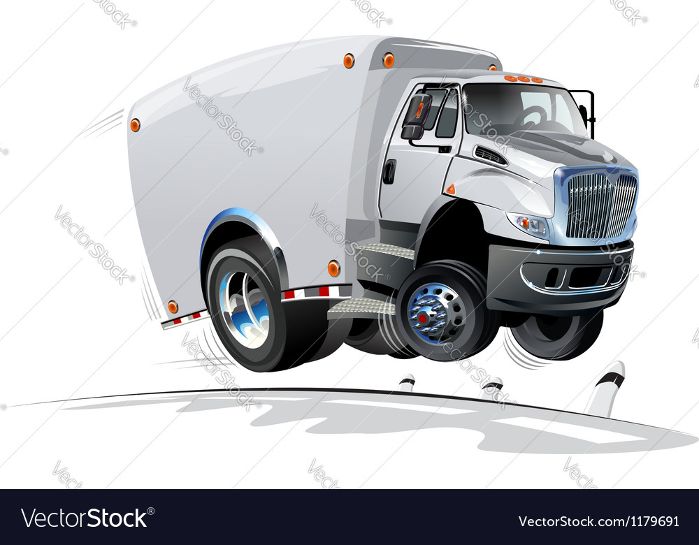 Cartoon delivery cargo truck vector | Price: 1 Credit (USD $1)