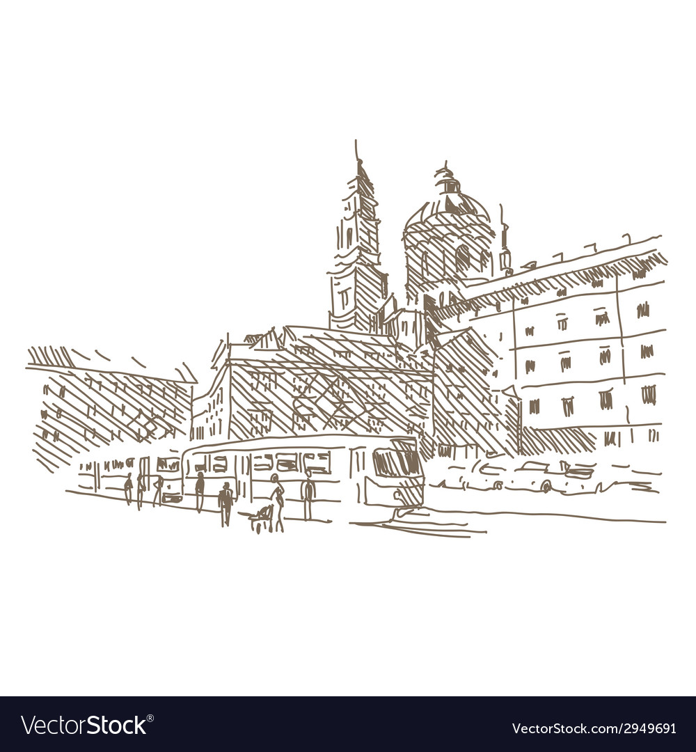 City drawing vector | Price: 1 Credit (USD $1)