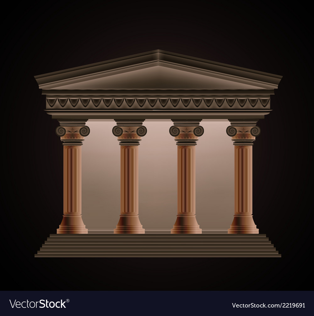 Front view of an antique greek temple in the vector | Price: 1 Credit (USD $1)