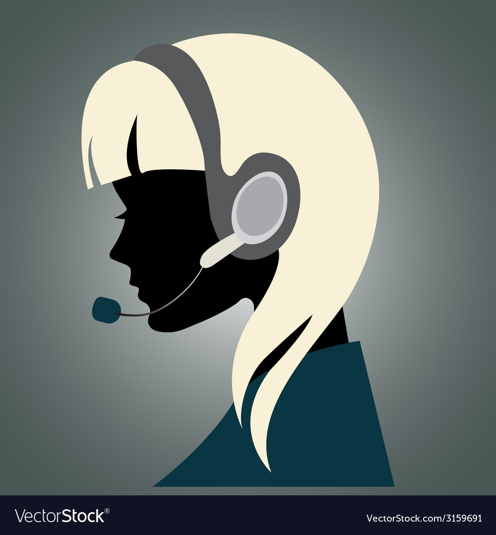 Girl with headset vector | Price: 1 Credit (USD $1)