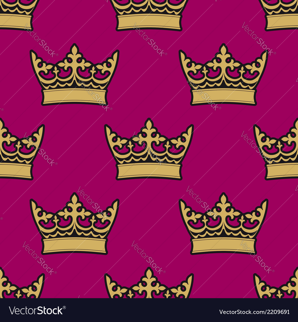 Heraldic seamless pattern with royal crowns vector | Price: 1 Credit (USD $1)