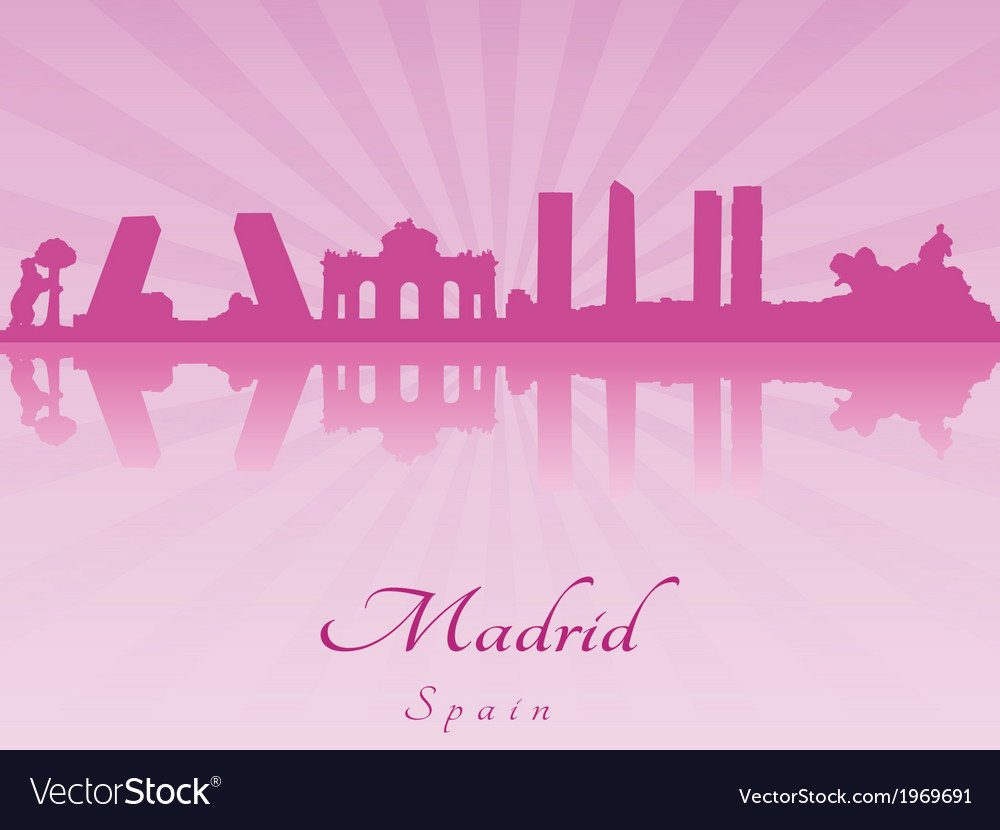Madrid skyline in purple radiant orchid vector | Price: 1 Credit (USD $1)