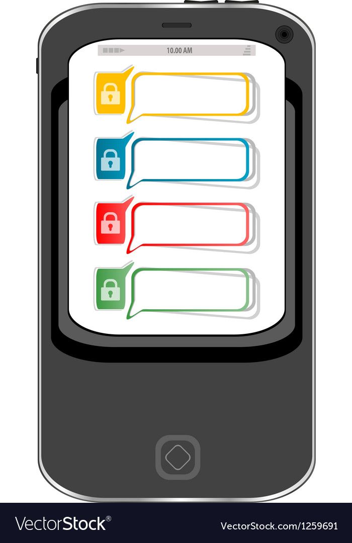 Safely concept cellphone with lock set vector | Price: 1 Credit (USD $1)