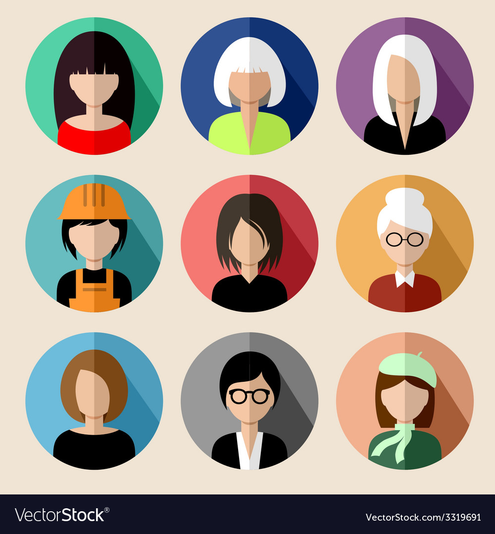 Set of round flat icons with women vector | Price: 1 Credit (USD $1)
