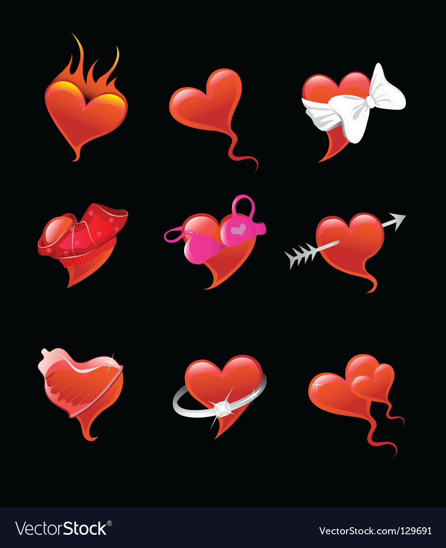 Sexy heart icon set vector | Price: 1 Credit (USD $1)