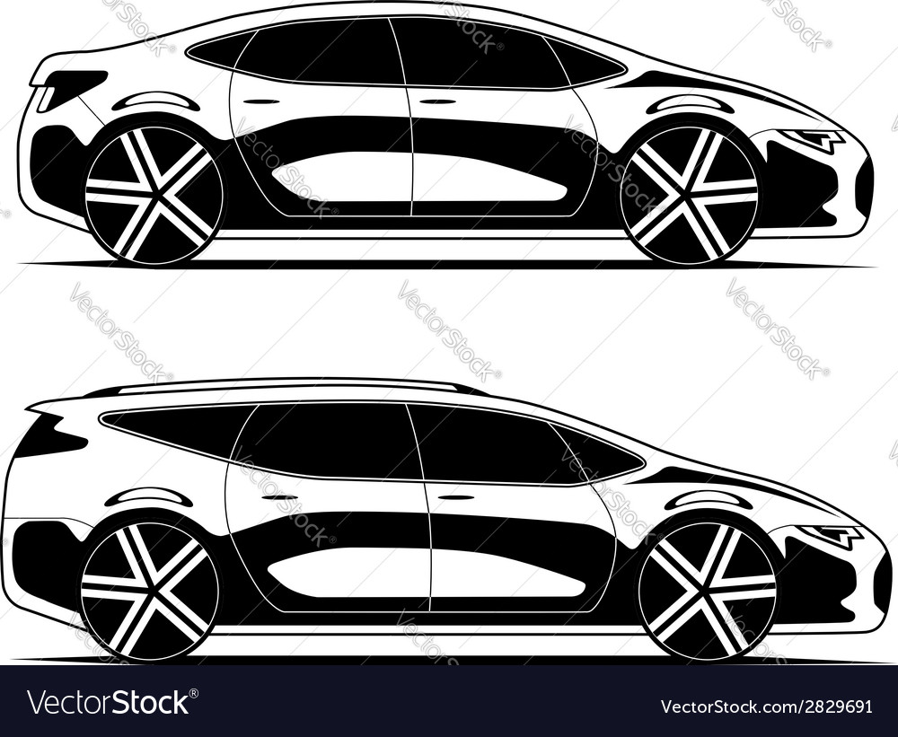 Silhouettes of cars isolated on white background vector | Price: 1 Credit (USD $1)