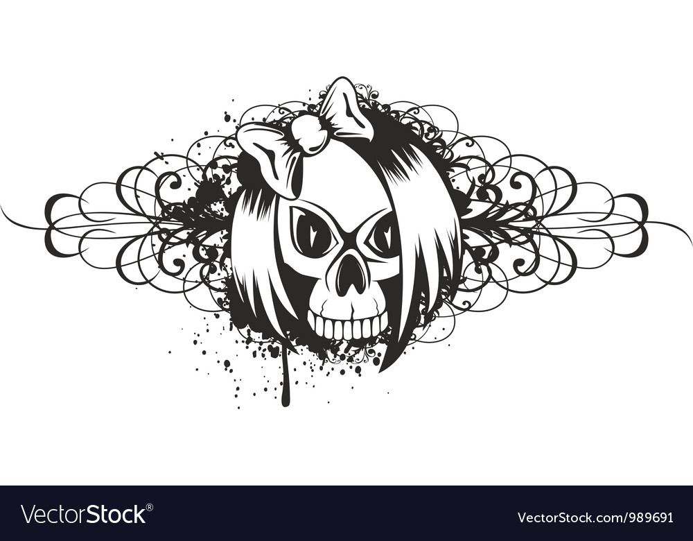 Skull emo with pattern vector | Price: 1 Credit (USD $1)