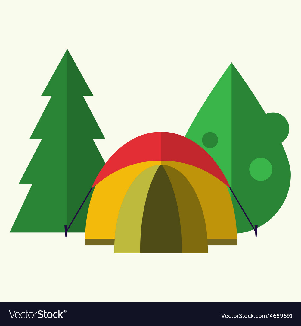 Tent in forest vector | Price: 1 Credit (USD $1)