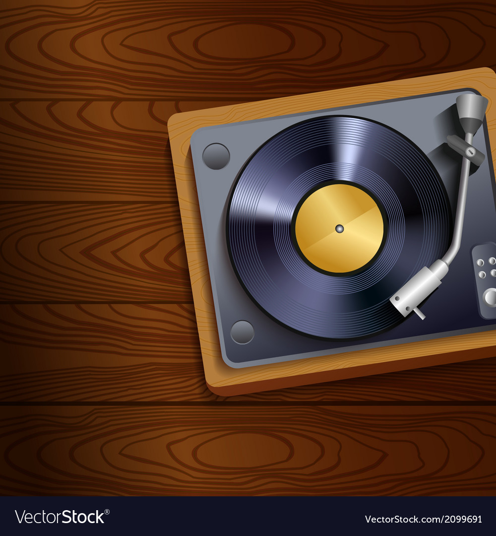 Vinyl record player on wooden background vector | Price: 1 Credit (USD $1)