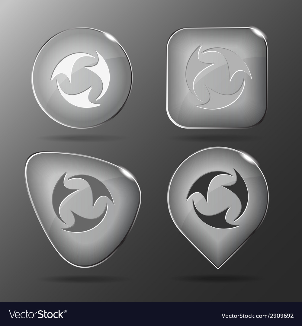 Abstract recycle symbol glass buttons vector | Price: 1 Credit (USD $1)