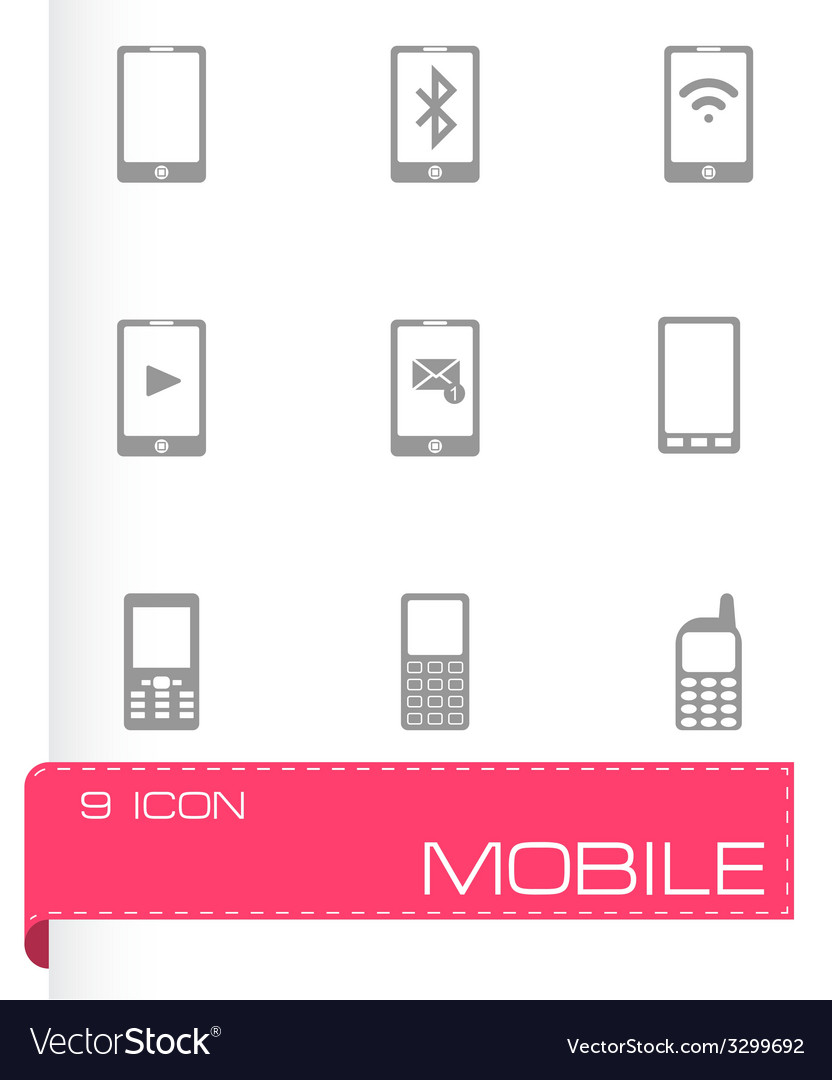 Black mobile icons set vector   Price: 1 Credit (USD $1)