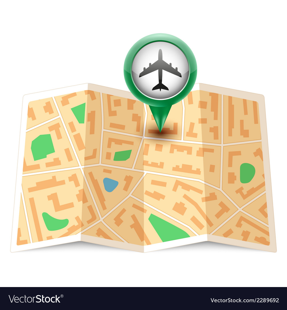 City map with label pin vector | Price: 1 Credit (USD $1)