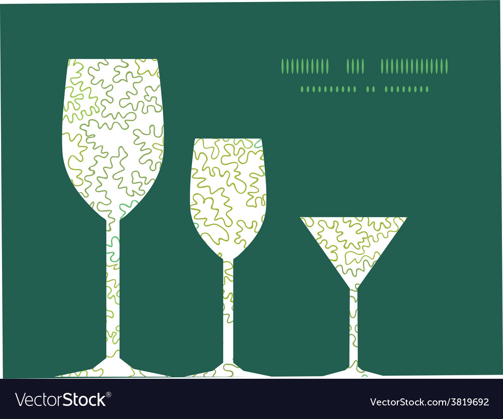 Curly doodle shapes three wine glasses vector | Price: 1 Credit (USD $1)