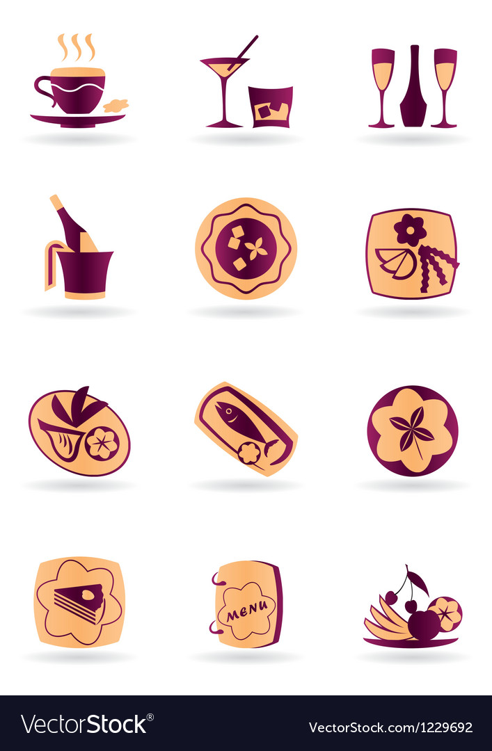 Drinks dishes appetizers and desserts vector | Price: 1 Credit (USD $1)