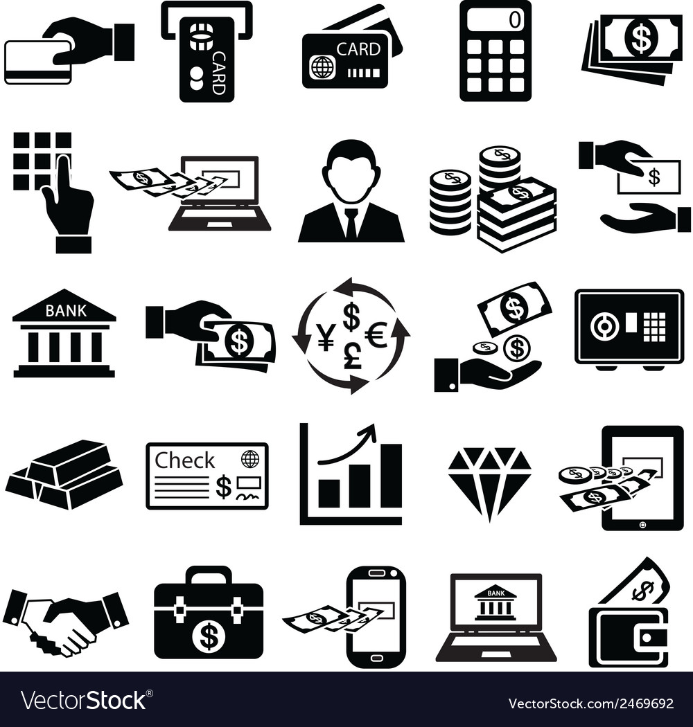 Finance money icons set vector | Price: 1 Credit (USD $1)