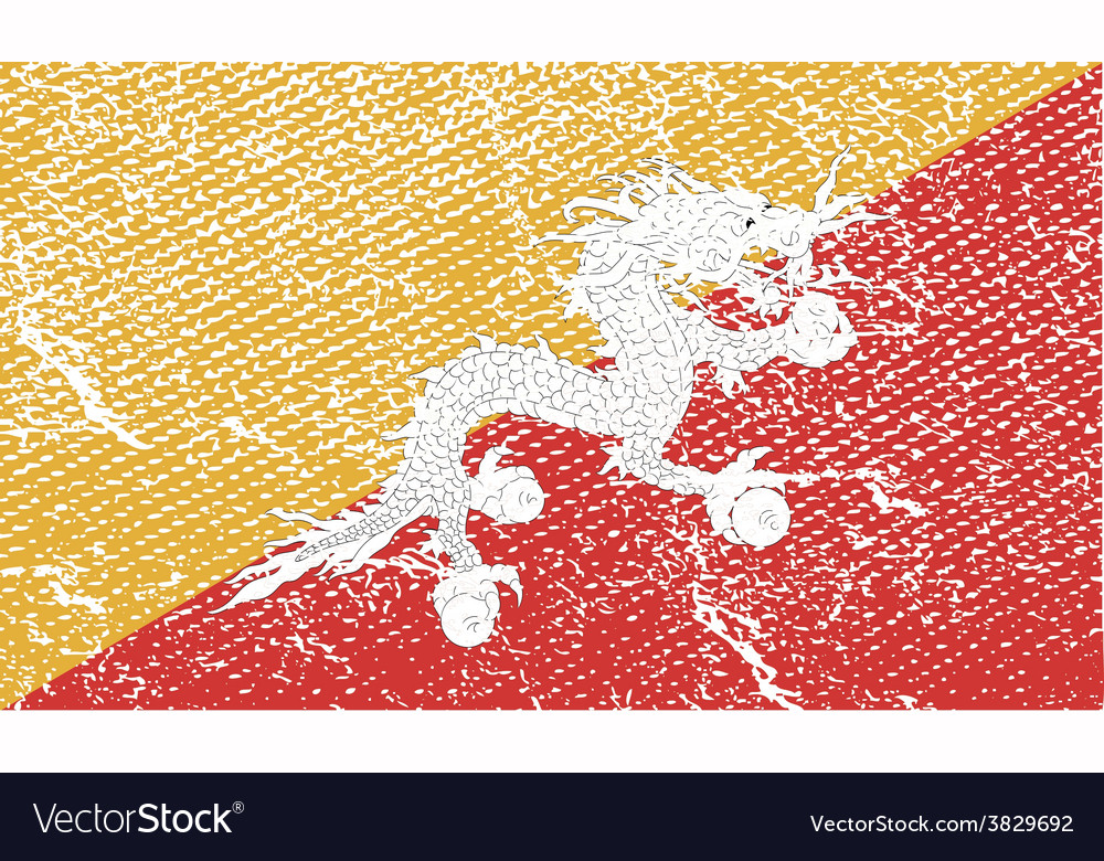 Flag of bhutan with old texture vector | Price: 1 Credit (USD $1)