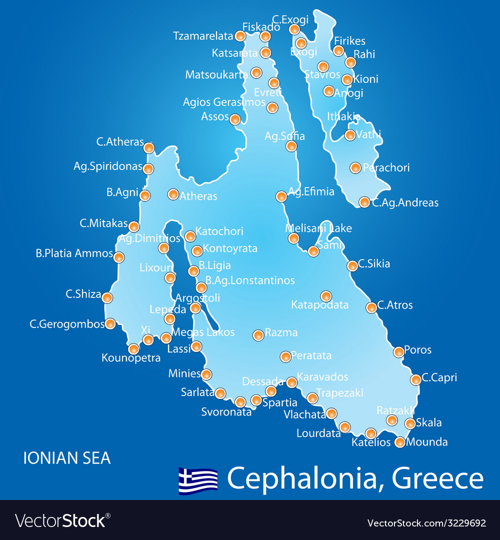 Island of cephalonia in greece map vector | Price: 1 Credit (USD $1)