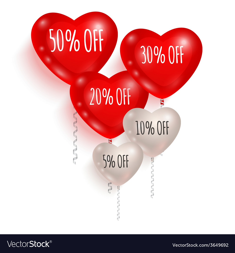 Red and white balloons sale 01 vector | Price: 1 Credit (USD $1)