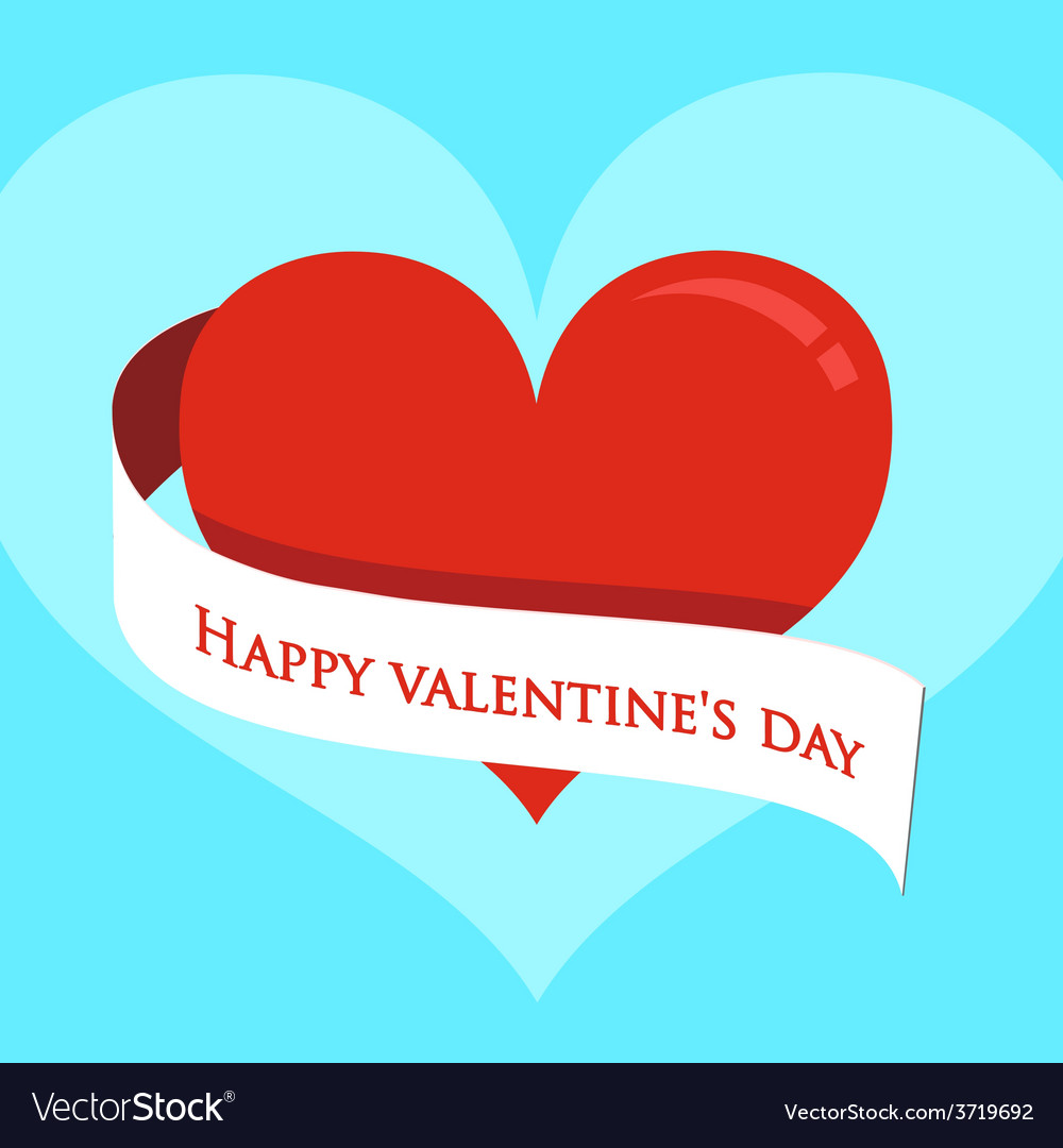 Red heart on valentines day vector