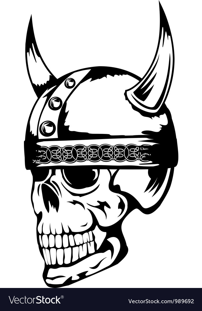 Skull in viking helmet 3 vector | Price: 1 Credit (USD $1)