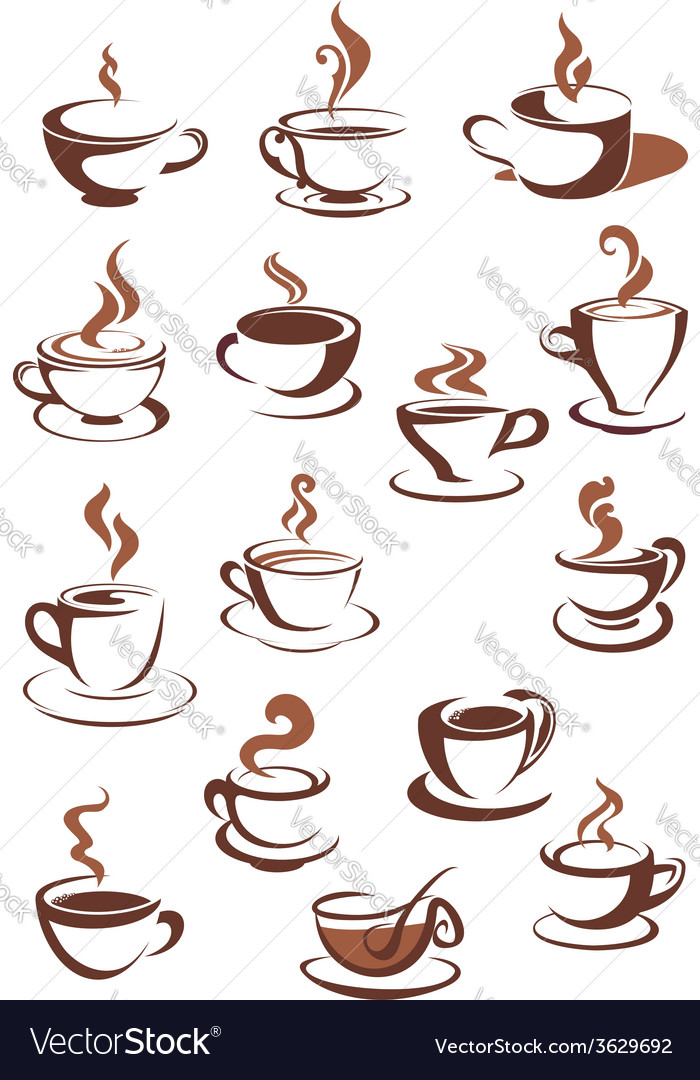 Steaming coffee cups vector | Price: 1 Credit (USD $1)