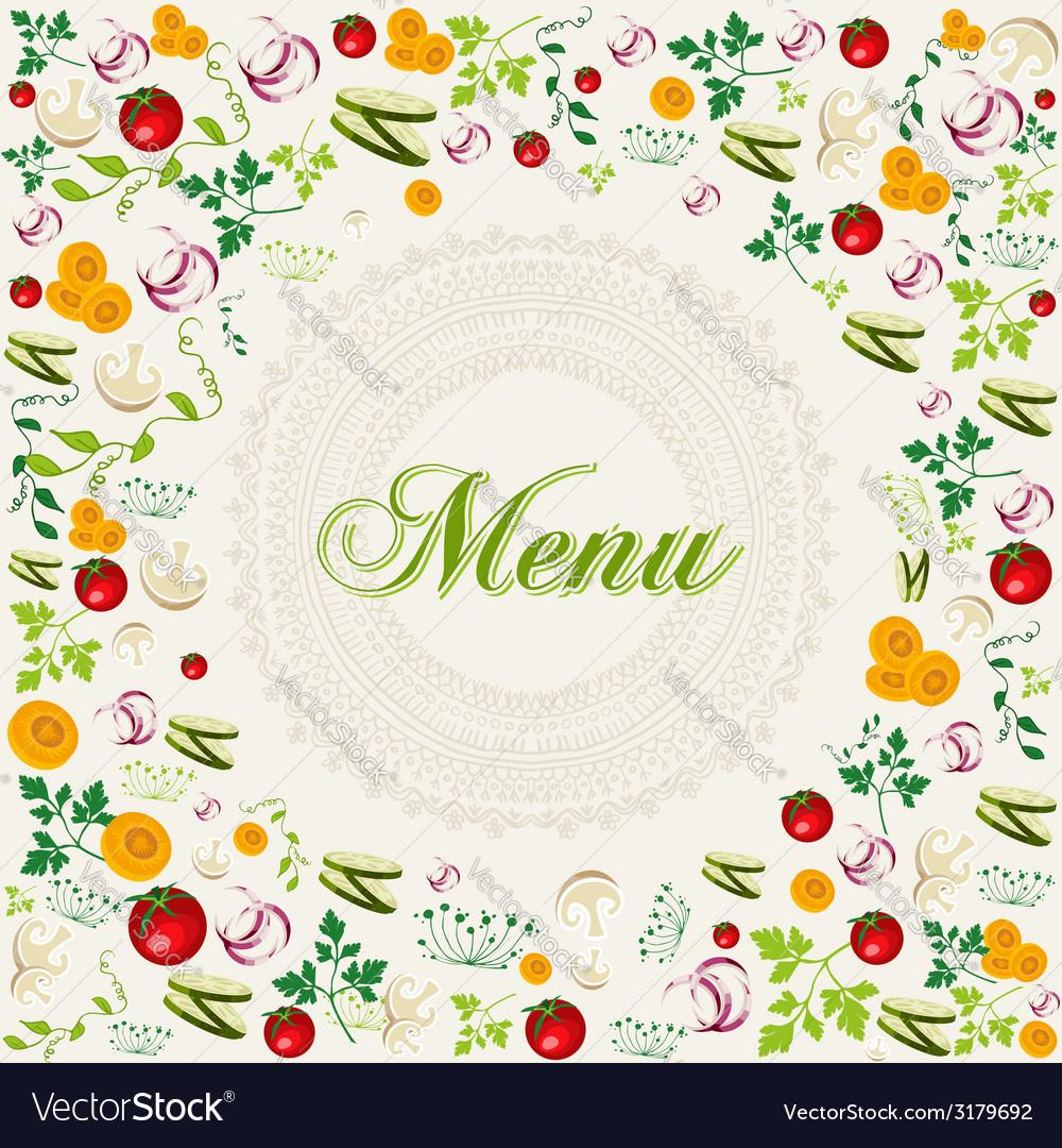 Vintage healthy food menu background vector | Price: 1 Credit (USD $1)