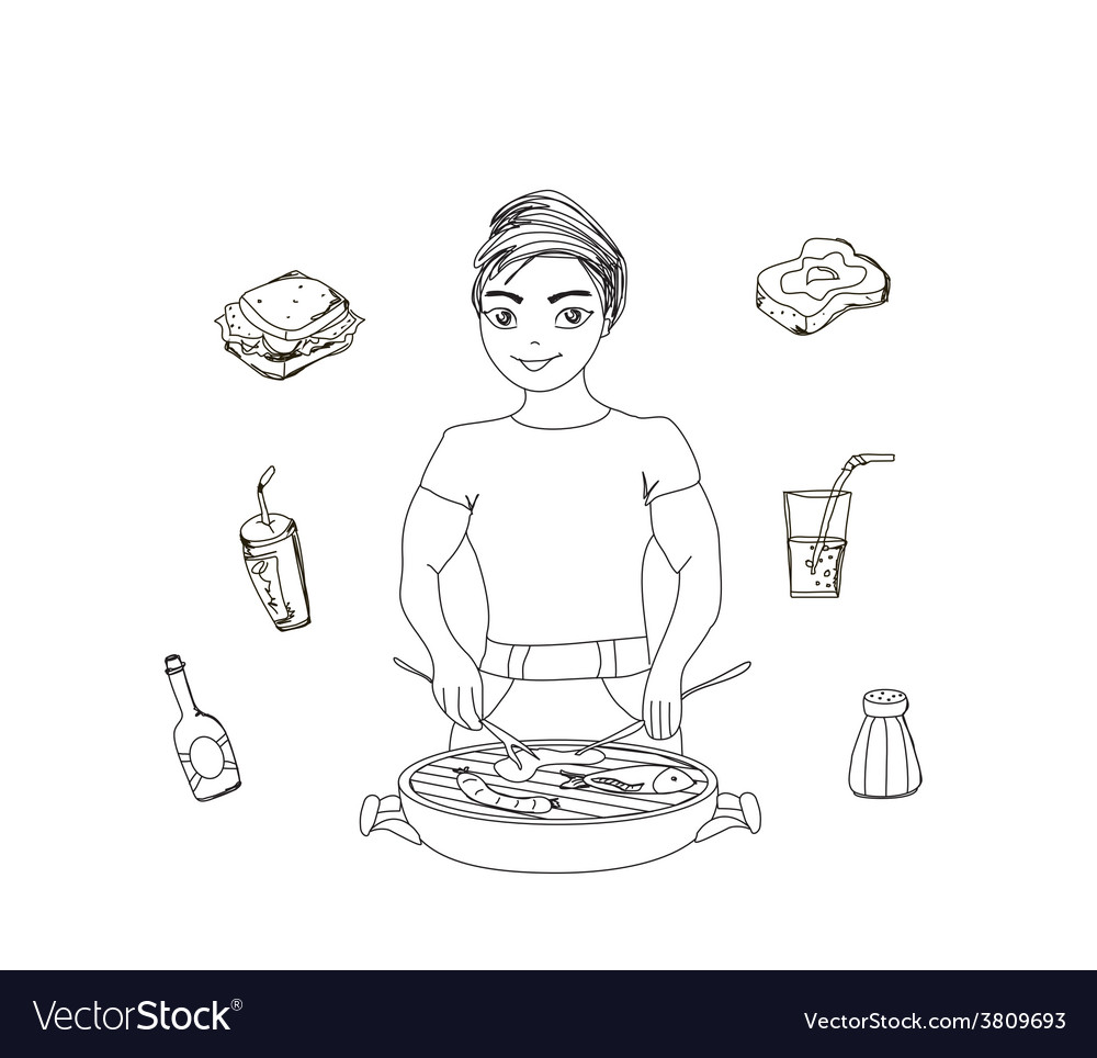 Cartoon male dressed in grilling attire cooking vector | Price: 1 Credit (USD $1)