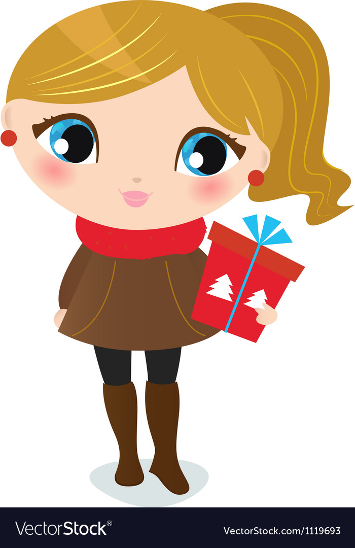 Cute christmas girl with present isolated on white vector | Price: 1 Credit (USD $1)