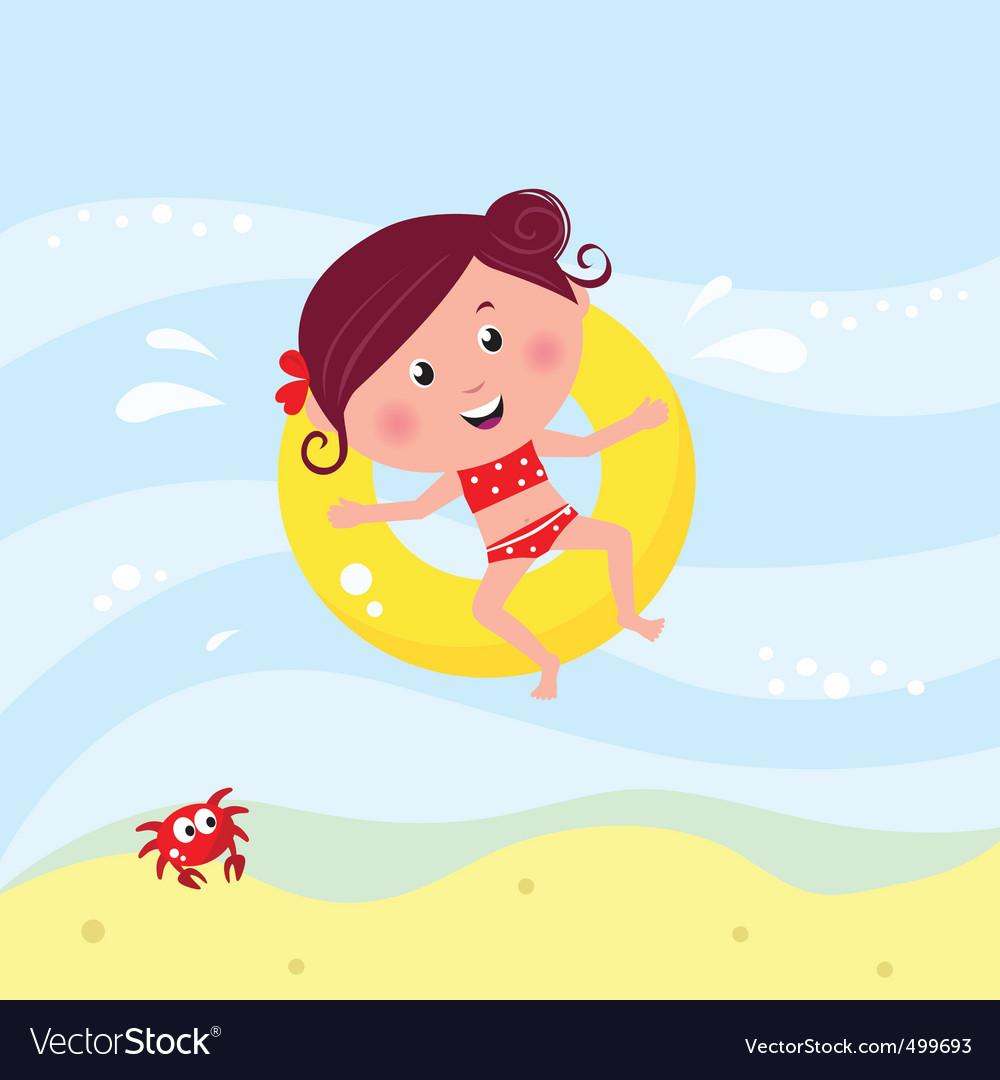 Cute girl swimming vector   Price: 1 Credit (USD $1)