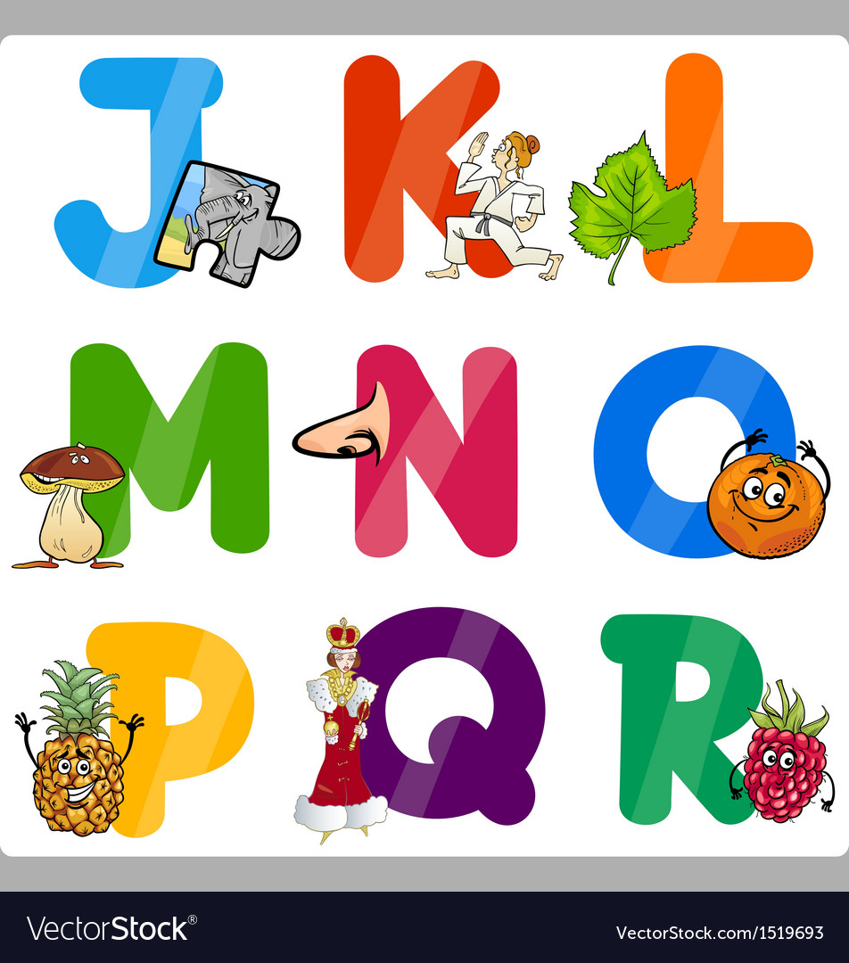 Education cartoon alphabet letters for kids vector | Price: 3 Credit (USD $3)