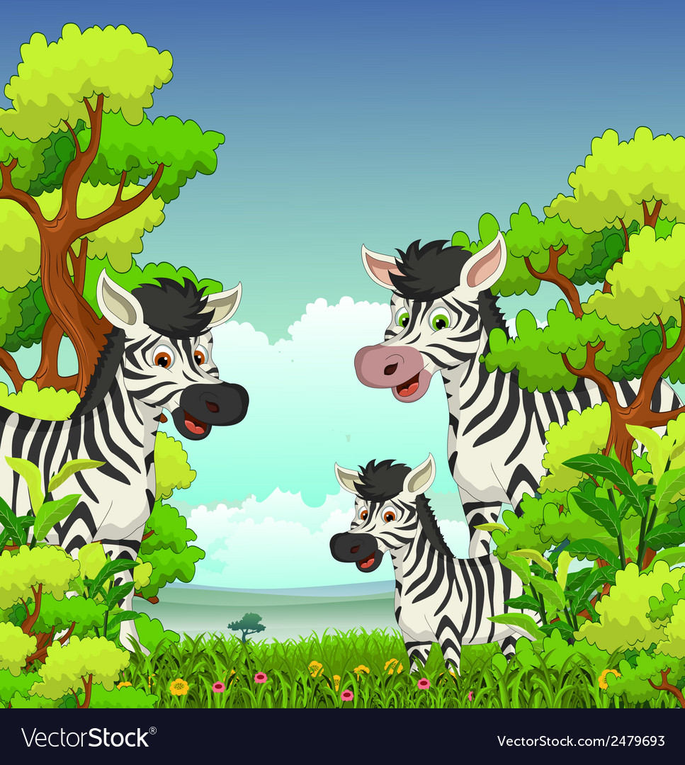 Family of zebra cartoon with forest background vector | Price: 1 Credit (USD $1)
