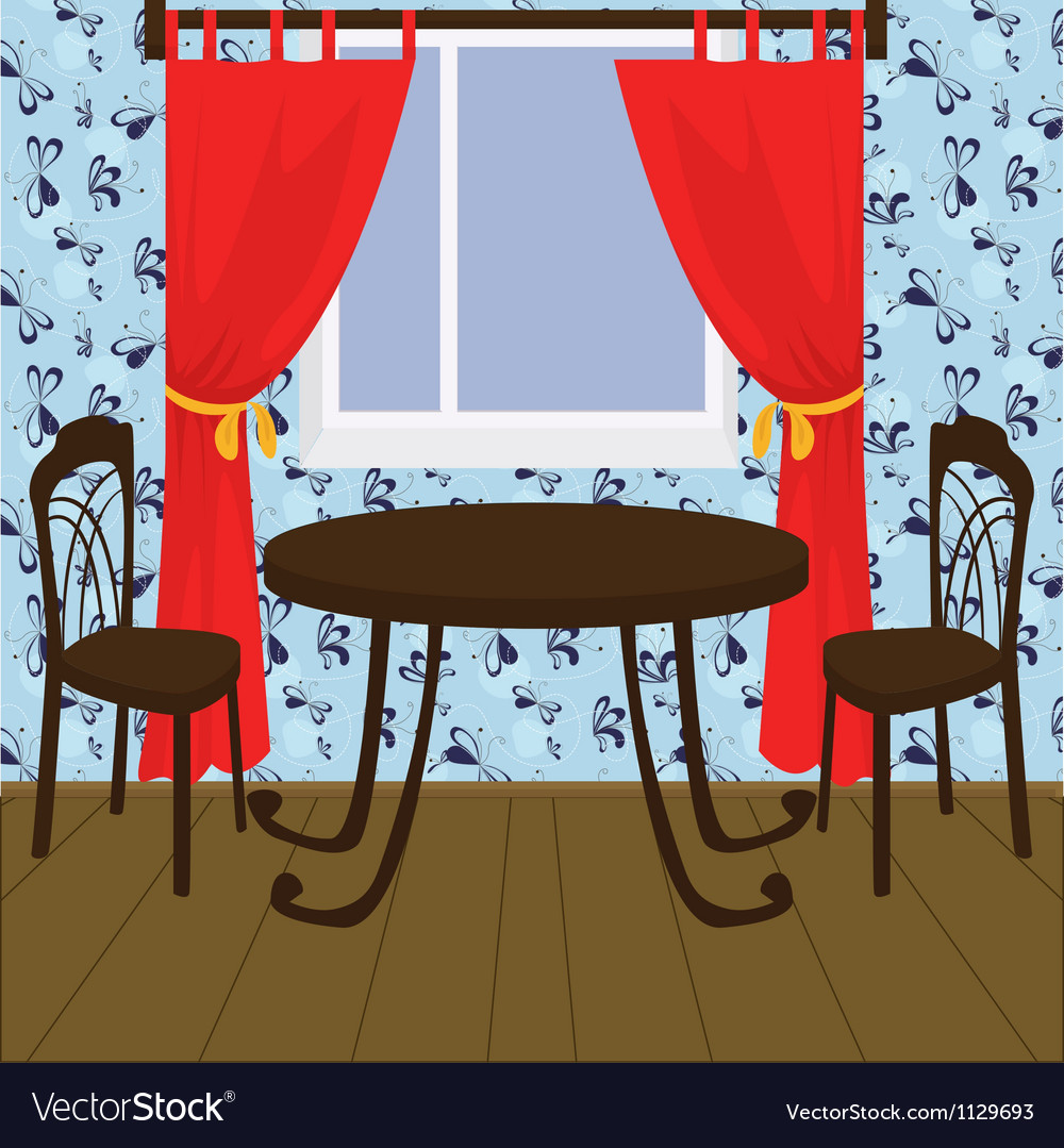 Interior with table and chairs vector | Price: 1 Credit (USD $1)
