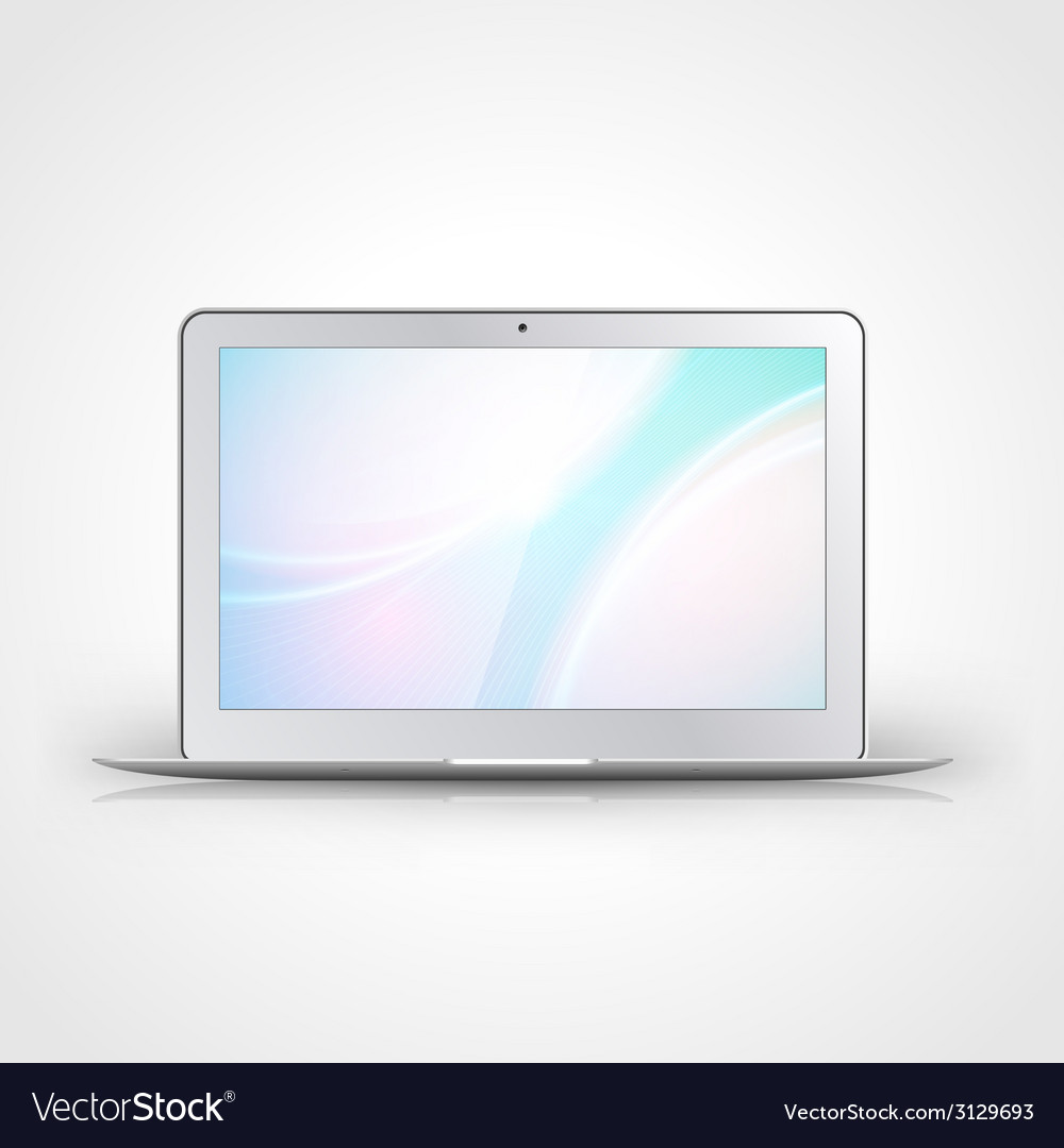 Light laptop with wallpaper isolated on white vector | Price: 1 Credit (USD $1)