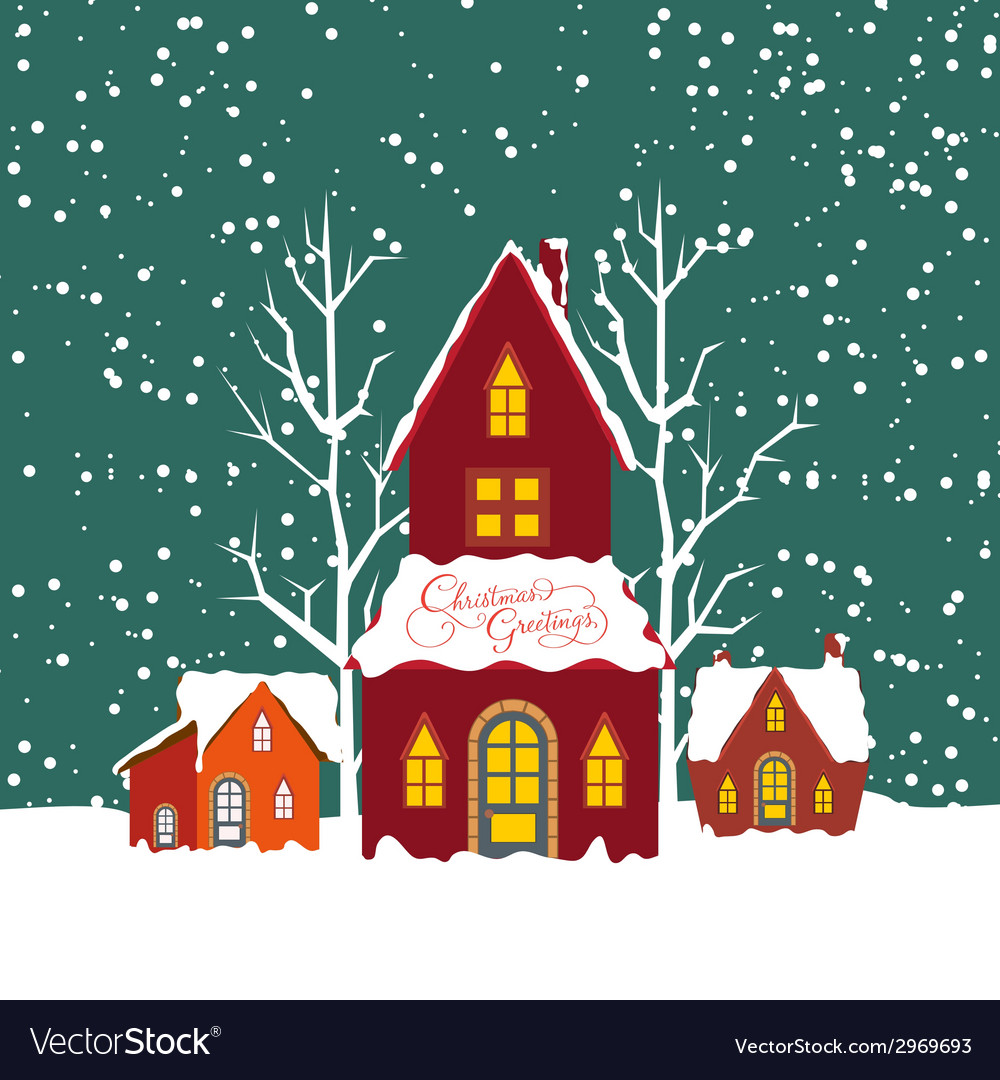 Merry christmas background with christmas house vector | Price: 1 Credit (USD $1)