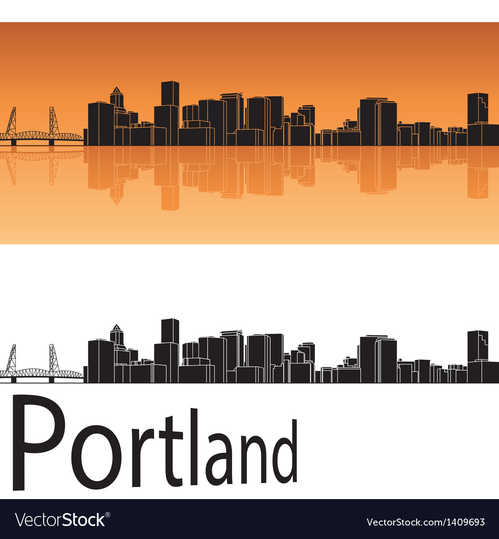 Portland skyline in orange background vector