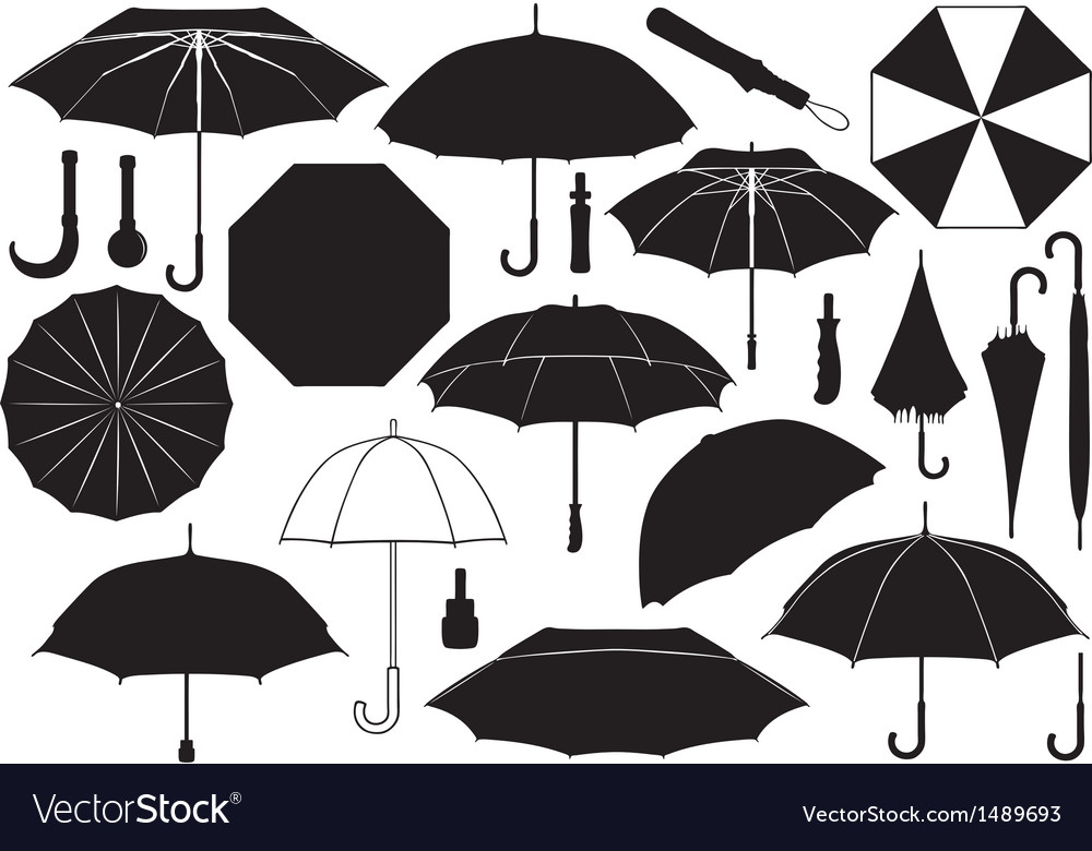 Set of different umbrellas vector | Price: 1 Credit (USD $1)