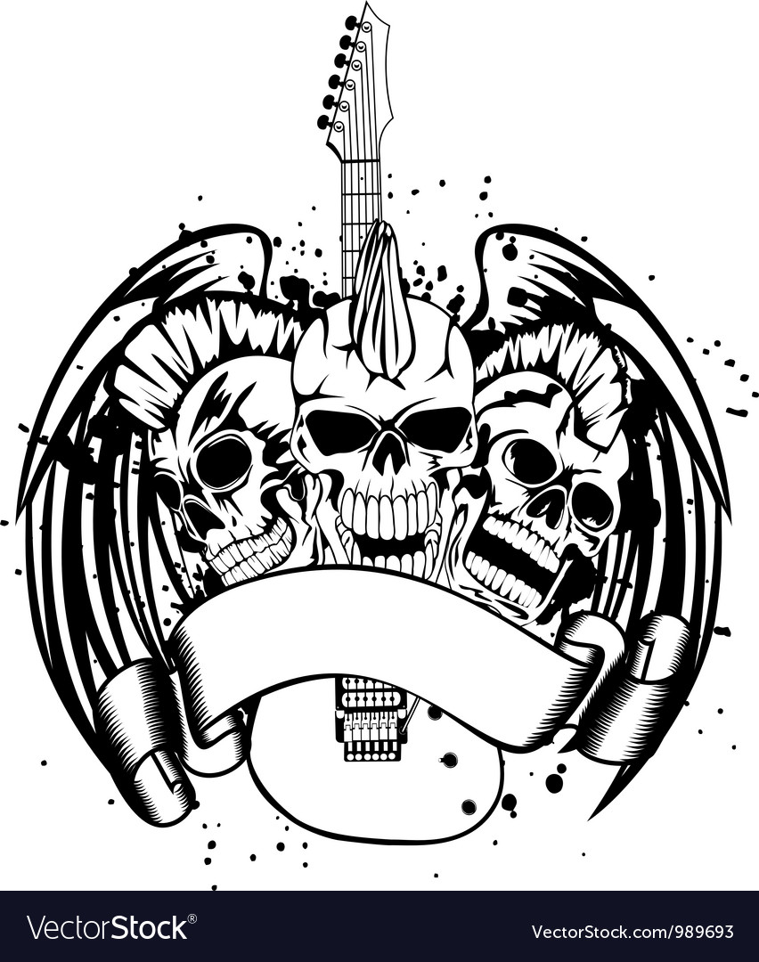 Skull punk with guitar vector | Price: 1 Credit (USD $1)