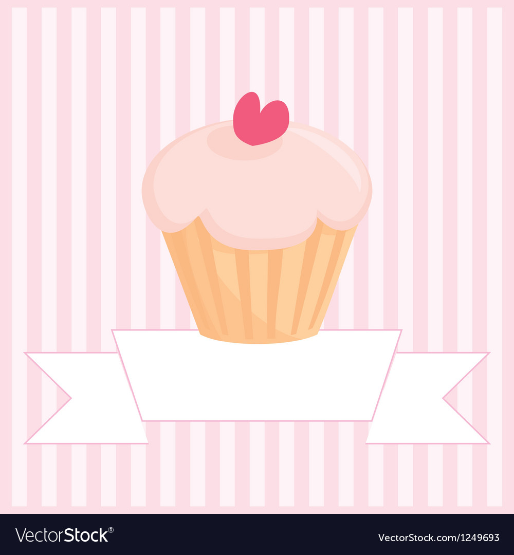 Sweet retro love cupcake pink vintage card vector | Price: 1 Credit (USD $1)