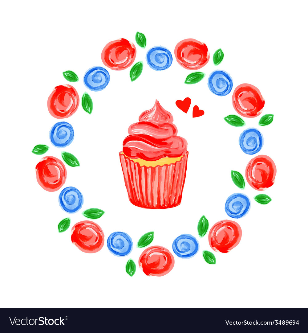 Acrylic floral background with cupcake vector | Price: 1 Credit (USD $1)