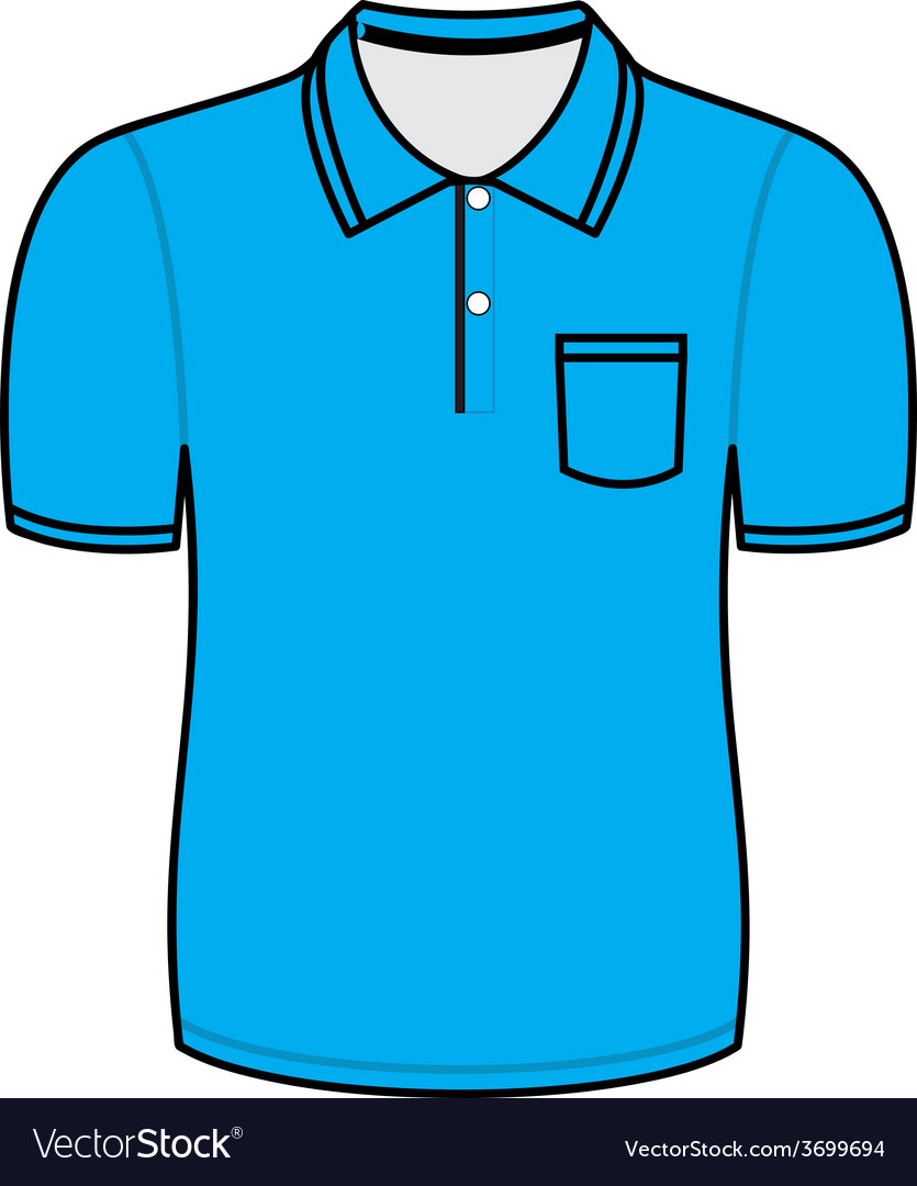 Blue polo shirt outline vector | Price: 1 Credit (USD $1)