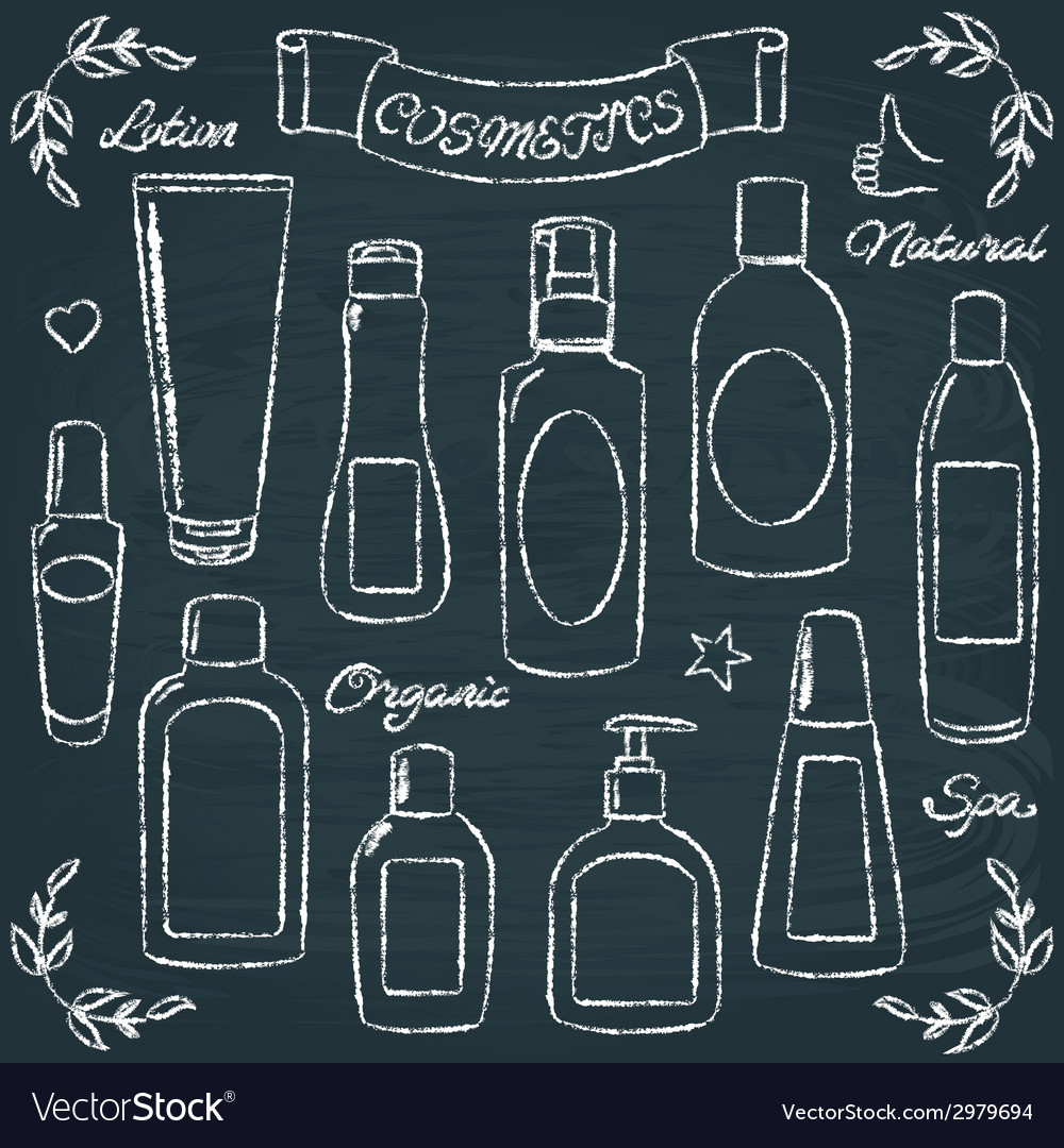 Chalkboard cosmetic bottles set 1 vector | Price: 1 Credit (USD $1)