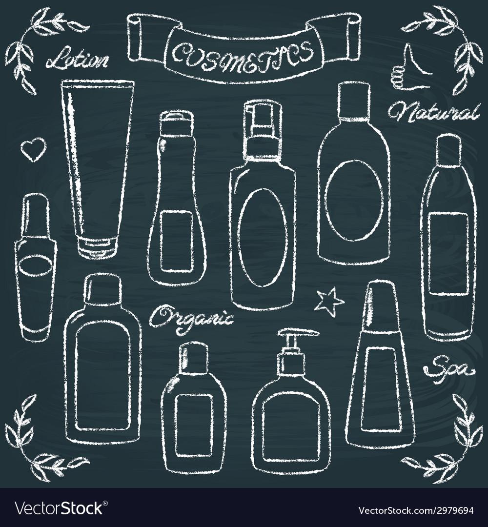 Chalkboard cosmetic bottles set 1 vector | Price: 1 Credit (USD $1)