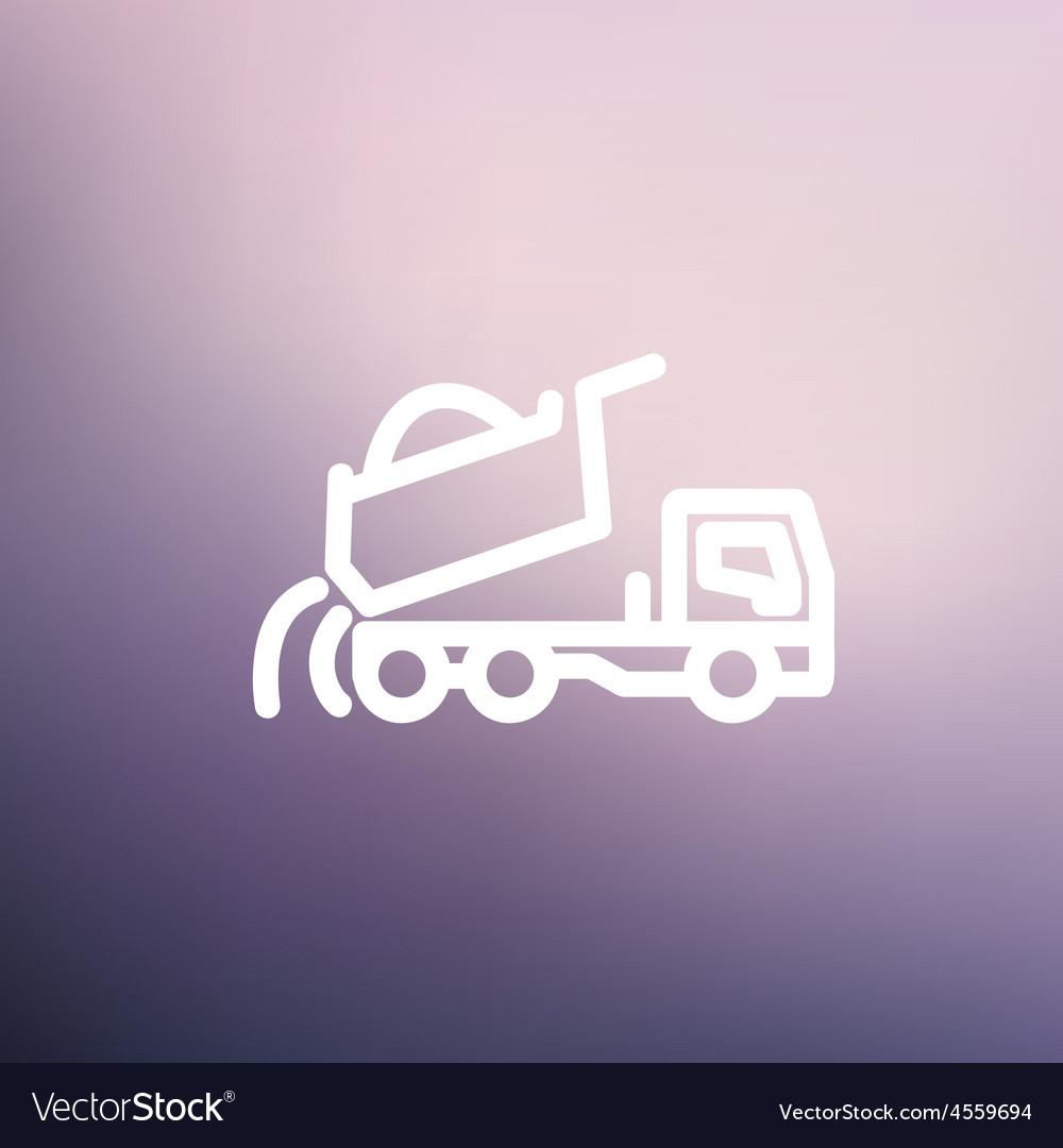 Dump truck thin line icon vector | Price: 1 Credit (USD $1)
