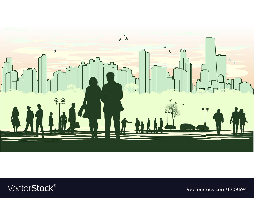 Green outline silhouette of the city vector | Price: 1 Credit (USD $1)